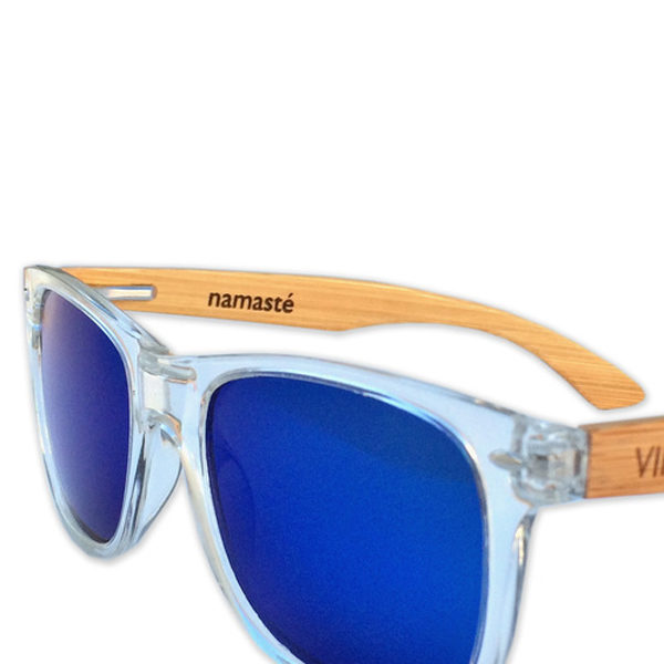 Warrior Vira Sun sunglasses blue glass and bamboo arms surfer style shades